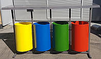 Урна Круглая металлическая для раздельного сбора мусора на 4 ведра, фото 1