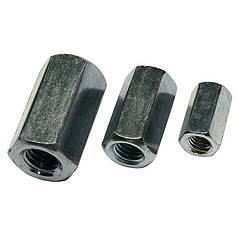 Гайка соединительная М10 (100 шт/упак) для резьбовой шпильки / Оцинкованная / Шестигранная / DIN 6334