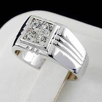 Стильное мужское кольцо с кристаллами Swarovski, покрытое золотом 0765