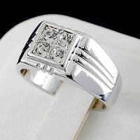 Стильное мужское кольцо с кристаллами Swarovski, покрытое золотом 0765 19 Белый