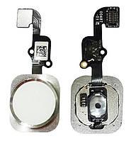 """Оригинальная кнопка """"Home"""" iPhone 6S белая/серебристая со шлейфом (кнопка меню/назад)"""
