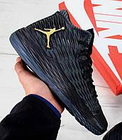 Баскетбольные кроссовки в стиле Nike Air Jordan Melo M13 Black/Metallic Gold-Anthracite