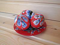 Пасхальная тарелочка из 3-х расписных яиц 6х4 см с цветочным орнаментом