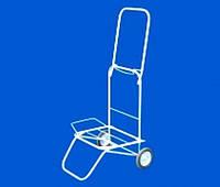 Серая металлическая тележка-кравчучка для покупок на резиновых колёсах