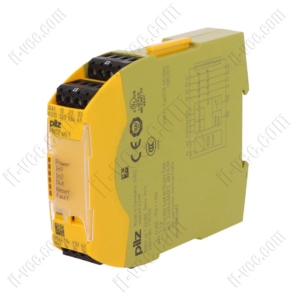 Реле безпеки PNOZ s6.1, 24VDC, 3NO/1NC, pilz 750126