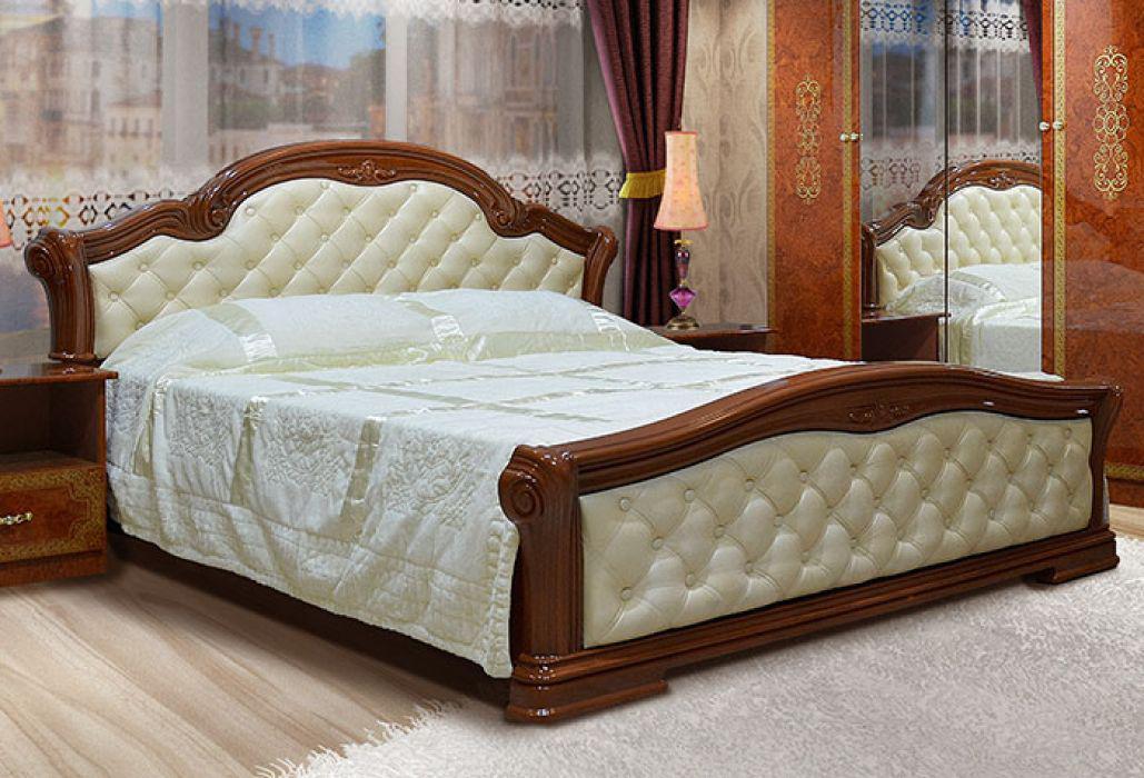 Ліжко з ДСП/МДФ в спальню 2-сп 1.6 (б/матрасу та каркаса) Венеція Нова піно горіх Світ Меблів