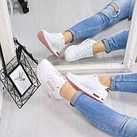 Кроссовки женские белый + пудра , обувь женская