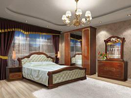 Спальня комплект з ДСП/МДФ 4Д (без матрасу та каркаса) Венеція Нова піно горіх Світ Меблів