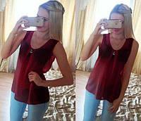 """Шифоновая блуза """"Волна"""" - распродажа модели бордовый, 44"""
