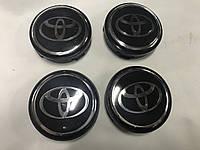 Toyota Колпачки в титановые диски V4 55мм черные под стеклом