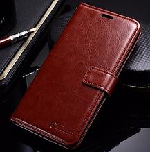 Кожаный чехол-книжка для Xiaomi Redmi note 4 коричневый