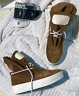 Весенние женские ботинки в стиле Sofi натуральная замша цвет молочный шоколад