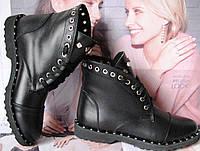 Женские весенние сапоги в стиле Zanotti Kleori ботинки заклепки! шнуровка кожа