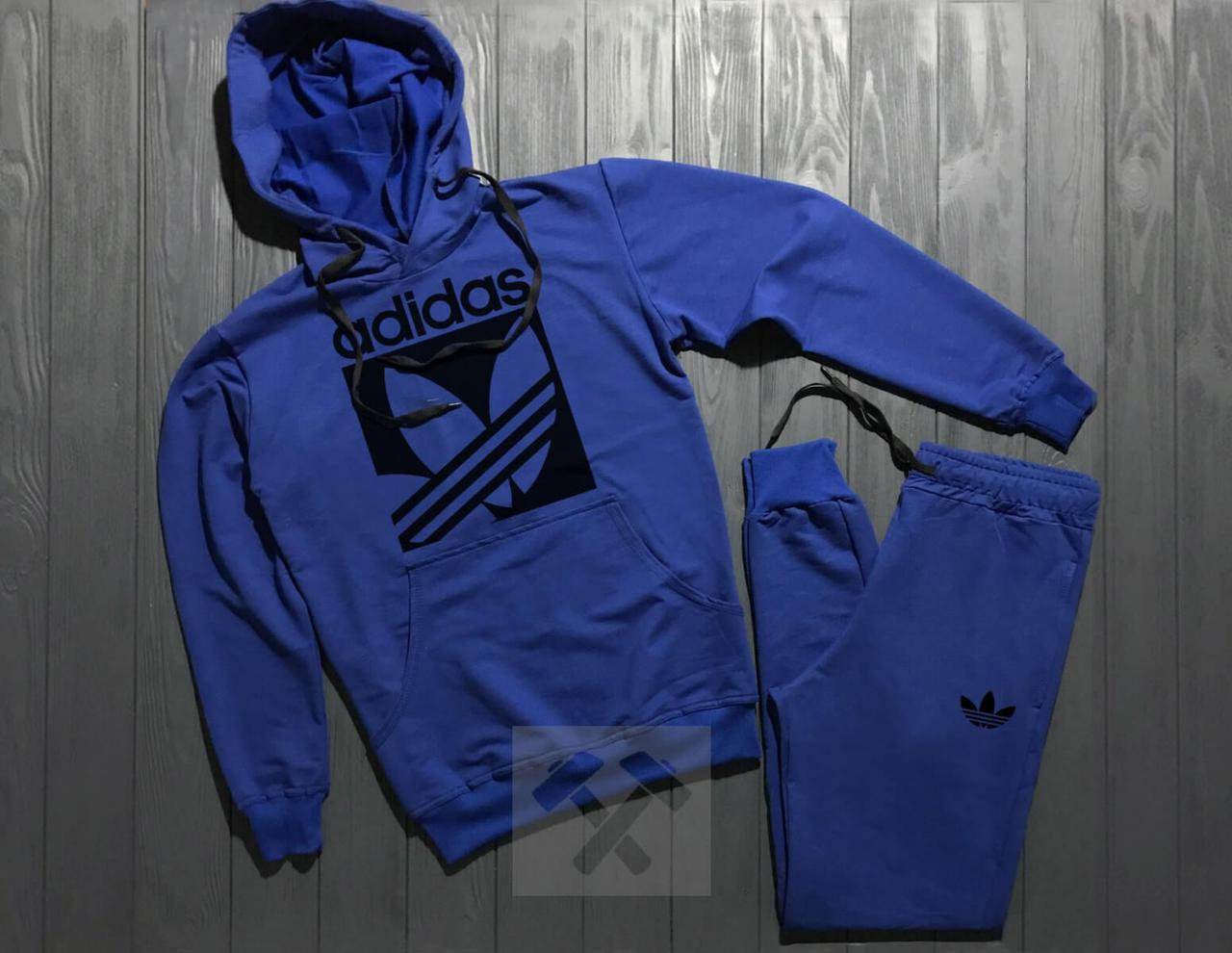 Спортивный костюм с капюшоном Adidas Originals синего цвета с черным логотипом