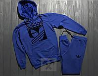 Спортивный костюм с капюшоном Adidas Originals синего цвета с черным логотипом, фото 1