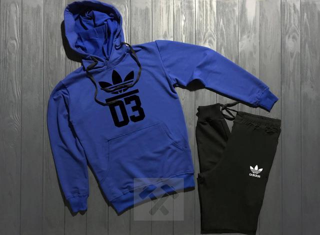 Спортивный костюм Adidas Originals 03 черно-синего цвета с черным логотипом