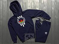 Спортивный костюм с капюшоном Adidas Originals Skateboarding синего цвета с белым логотипом, фото 1