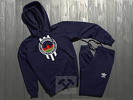 Спортивный костюм с капюшоном Adidas Originals Skateboarding синего цвета с белым логотипом