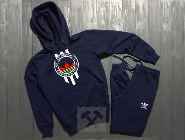 Спортивный костюм Adidas Originals Skateboarding синего цвета с белым логотипом