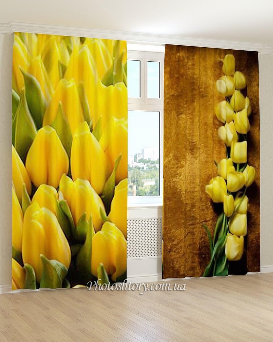 Фотошторы желтые тюльпаны