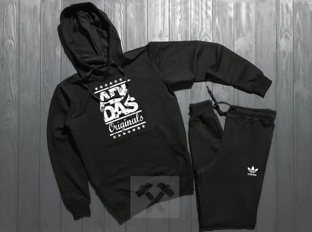 Спортивный костюм Adidas Originals черного цвета с белым логотипом