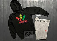 Спортивный костюм с капюшоном Adidas Originals Rasta черного цвета с разноцветным логотипом, фото 1
