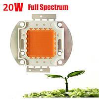 Фито светидиод 20 Вт, 32-34 В. Мультиспектр для роста растений 400-840nm, фитоспектр.