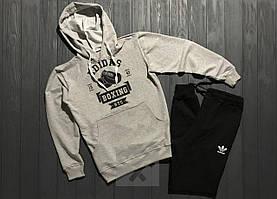 Спортивный костюм с капюшоном Adidas Originals Boxing черно-серого цвета с черным логотипом