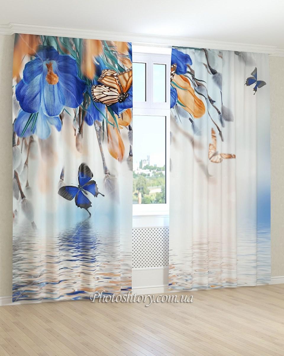 Фотошторы синие цветы и бабочки