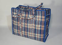 Хозяйственная голубая квадратная сумка 300х360х160 мм клетчатая на молнии с лаковым покрытием , фото 1