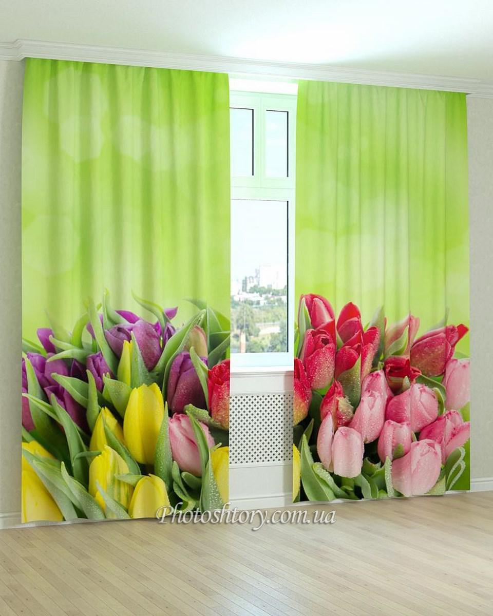 Фотошторы разноцветные тюльпаны