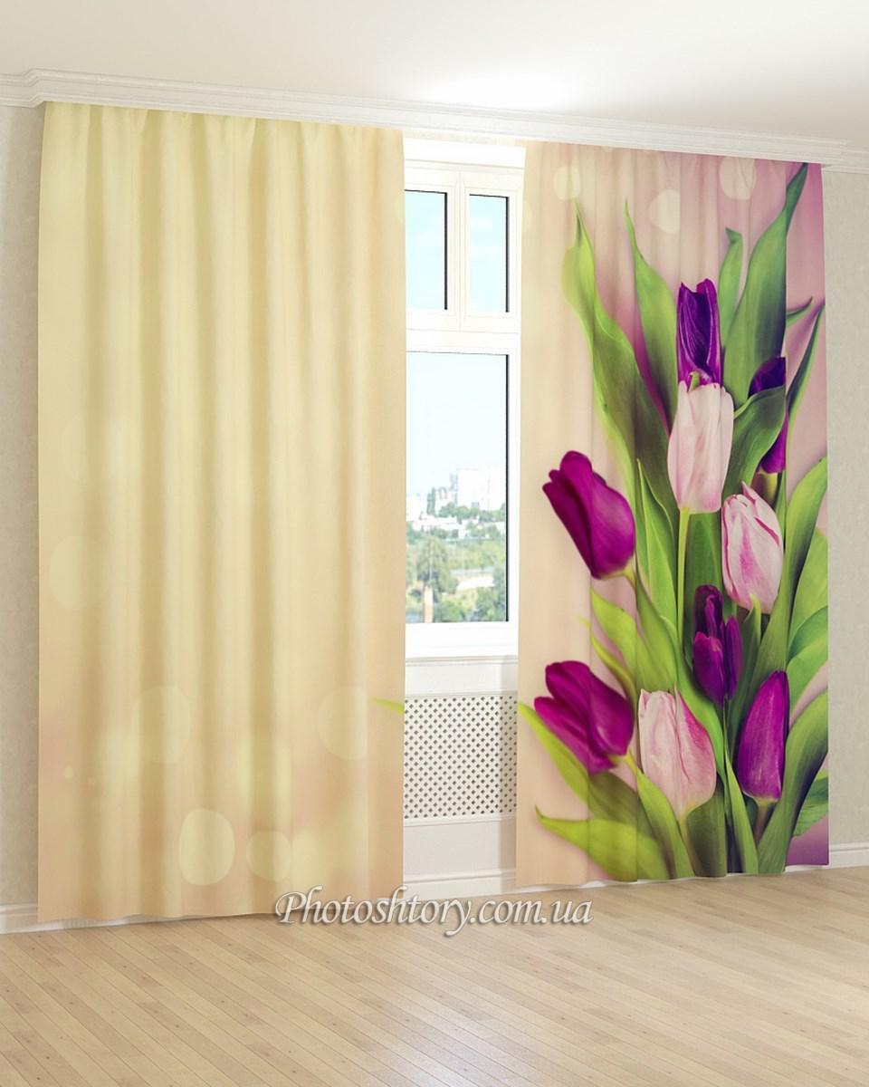 Фотошторы фиолетовые тюльпаны