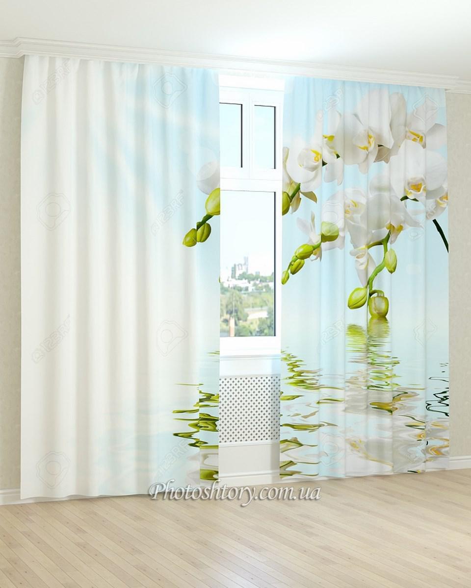 Фотошторы белая орхидея у воды