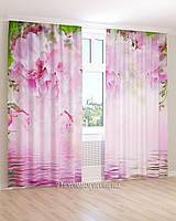 Фотошторы вода и розовые цветы