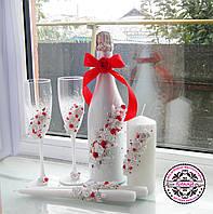Бело-красный свадебный набор