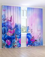 Фотошторы фиолетовые бабочки на цветах