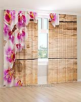 Фотошторы орхидея на деревянном фоне
