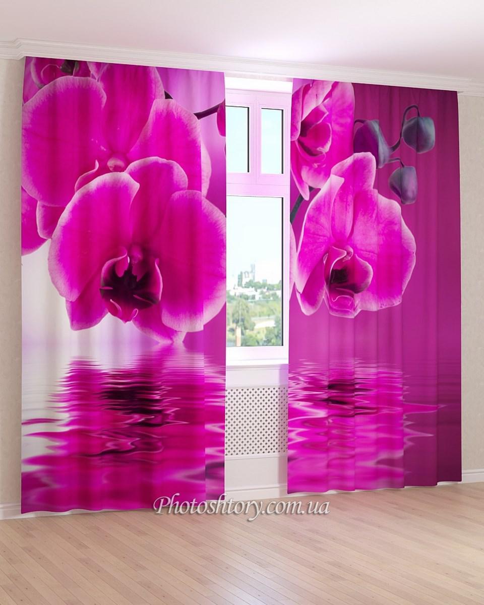Фотошторы розовая вода и орхидея