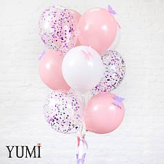 Нежная связка из воздушных шаров с декором для девушки