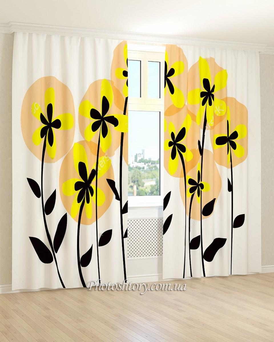 Фотошторы рисунок желто-черных цветов