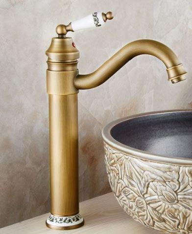 Смеситель кран высокий для чаши бронза однорычажный 0489