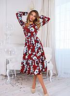 Весеннее платье с рюшей, цветочный принт