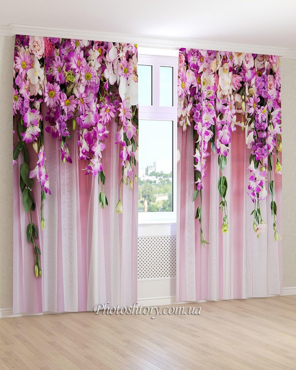 Фотошторы сиреневые длинные цветы