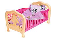 Куклы и пупсы «ТехноК» (4494) Кукольнаякроватка,(30см,5дет.,постель)