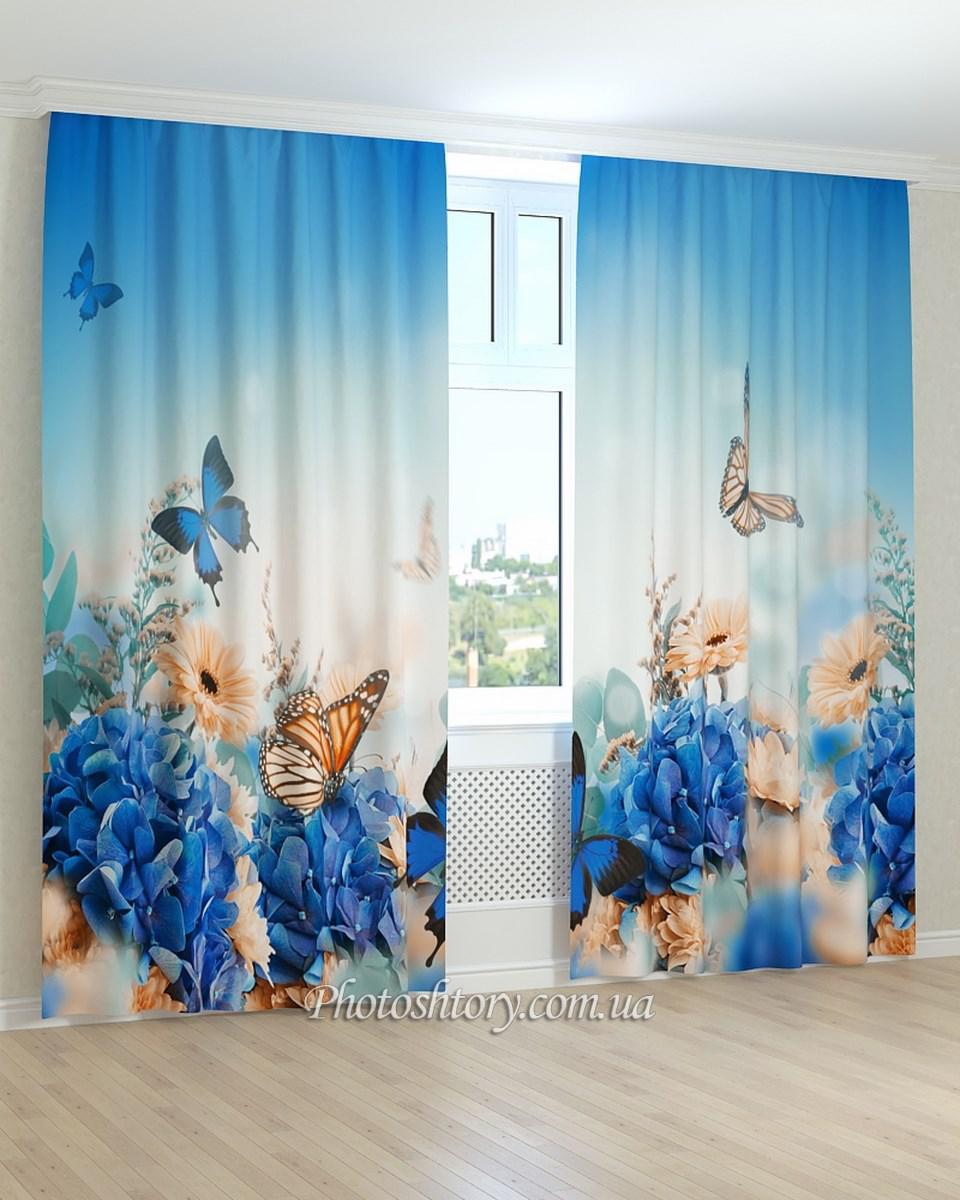 Фотошторы пархающие бабочки и цветы