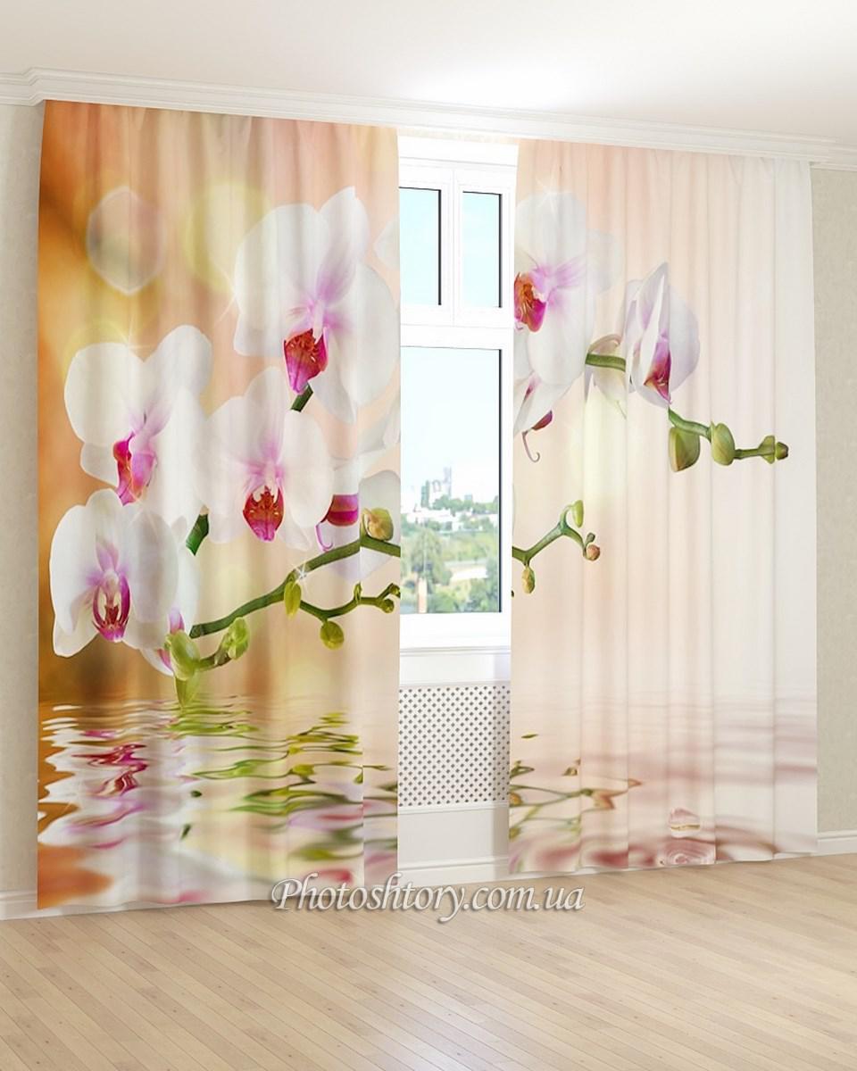 Фотошторы вода и белая орхидея 3D