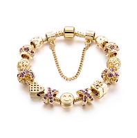 Позолоченный браслет PANDORA с фиолетовыми камнями
