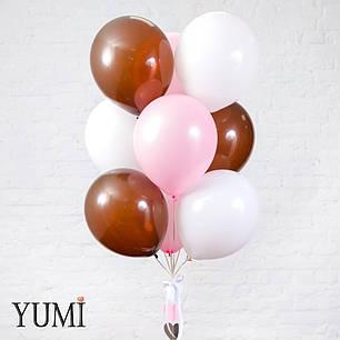 Милая связка из 12 гелиевых шаров с декором для девушки , фото 2