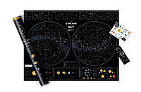 Скретч Карта Звездное небо / Скретч карта Star map of the sky в тубусе (русский язык) / опт