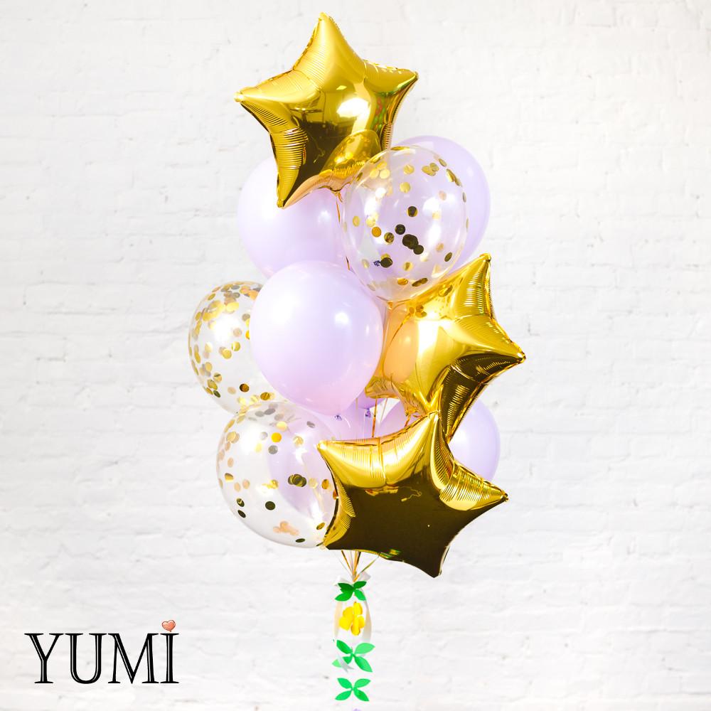 Связка из 3 золотых звезд, 6 светло-сиреневых и 3 прозрачных шаров с золотым конфетти кружочки + декор:
